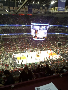 This is the view from the Press Box at the Bulls game